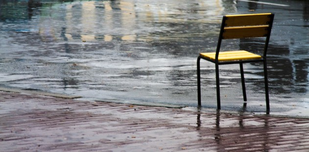 chair out in the rain
